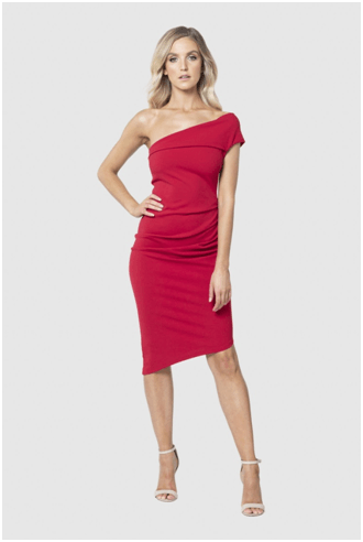 One Shoulder or off shoulder Red Dress