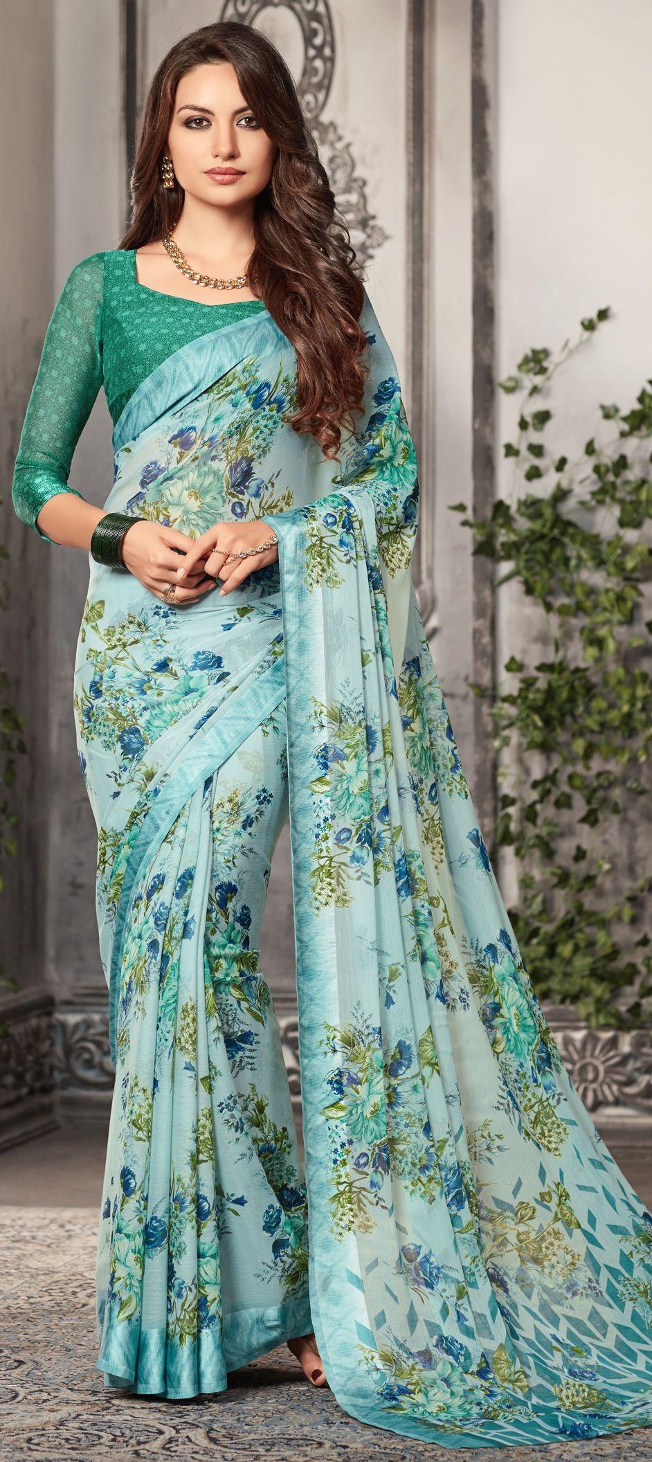 1506018_ Casual Blue color Faux Chiffon fabric Sarees