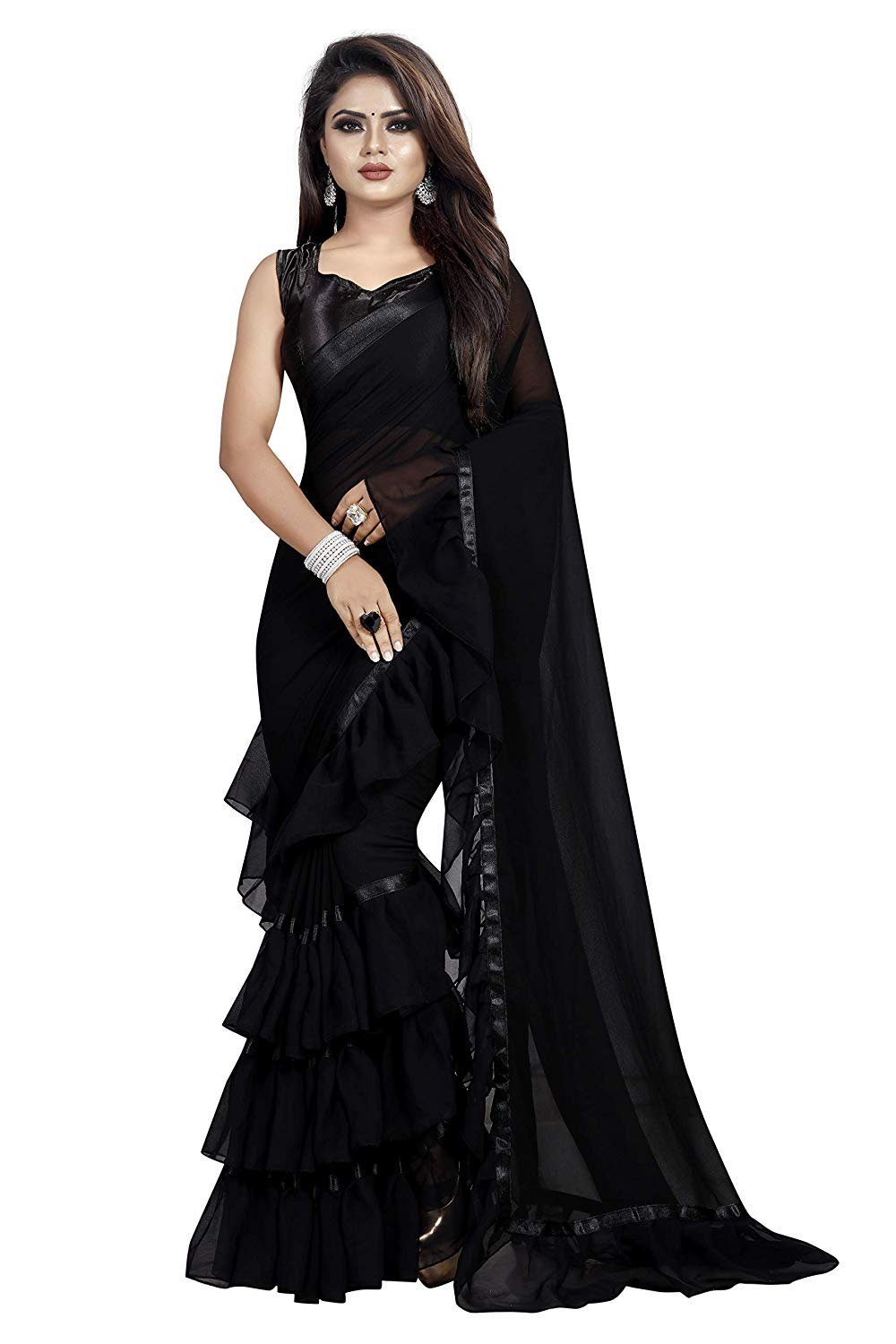 Black Party Saree For Girls