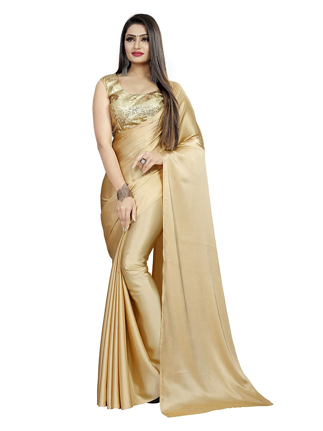 Golden Color Saree For Girls