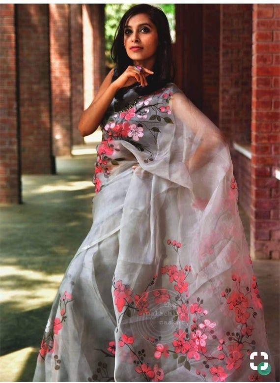 Organza saree, gray saree, bangalori silk blouse,saree for women,designer saree, indian saree, beautiful saree