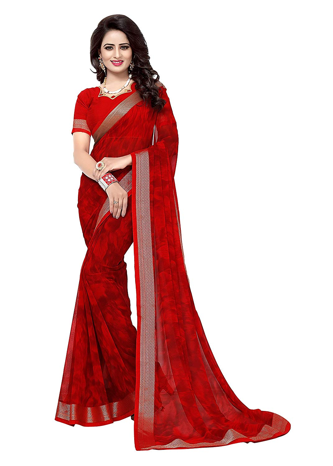 Red Saree For Girls