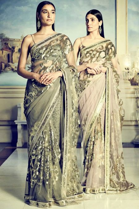 Sabyasachi Sheer Embellished Tulle Saree With Unstitched Blouse Piece