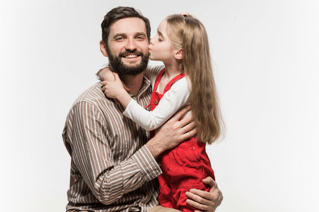 Description: Girl hugging her father  over a white wall Free Photo