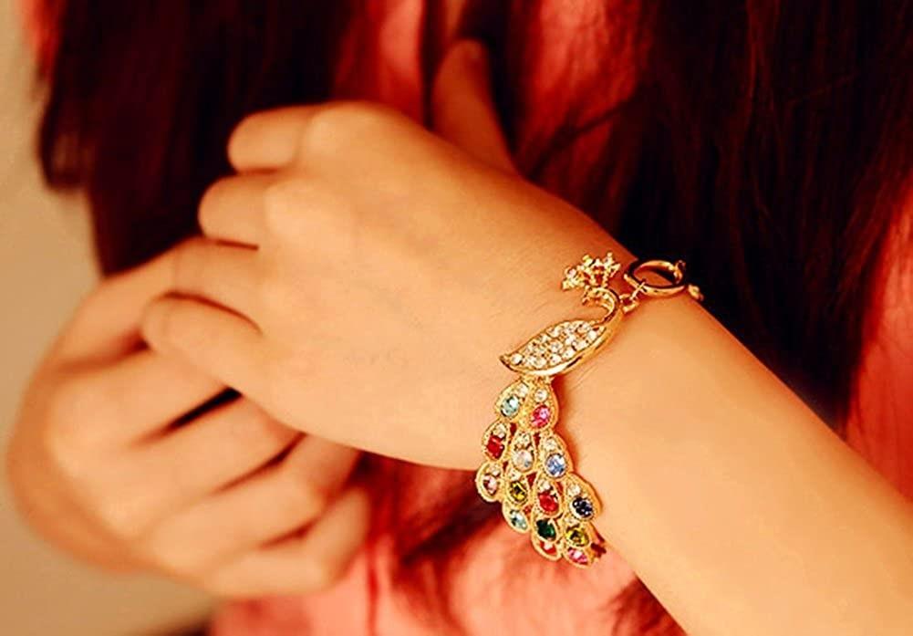 Lovind Fashion Bracelet Colorful Peacock Bracelet Shiny Rhinestone Phoenix Bracelet  Jewelry Bracelets independencevillagenj.com