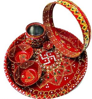 Stainless Steel Karwa chauth Puja thali Set for Vrat Poojan