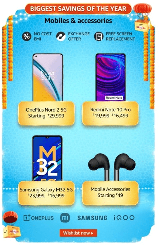 Amazon Great Indian Festival Sale 2021 Mobile Offers