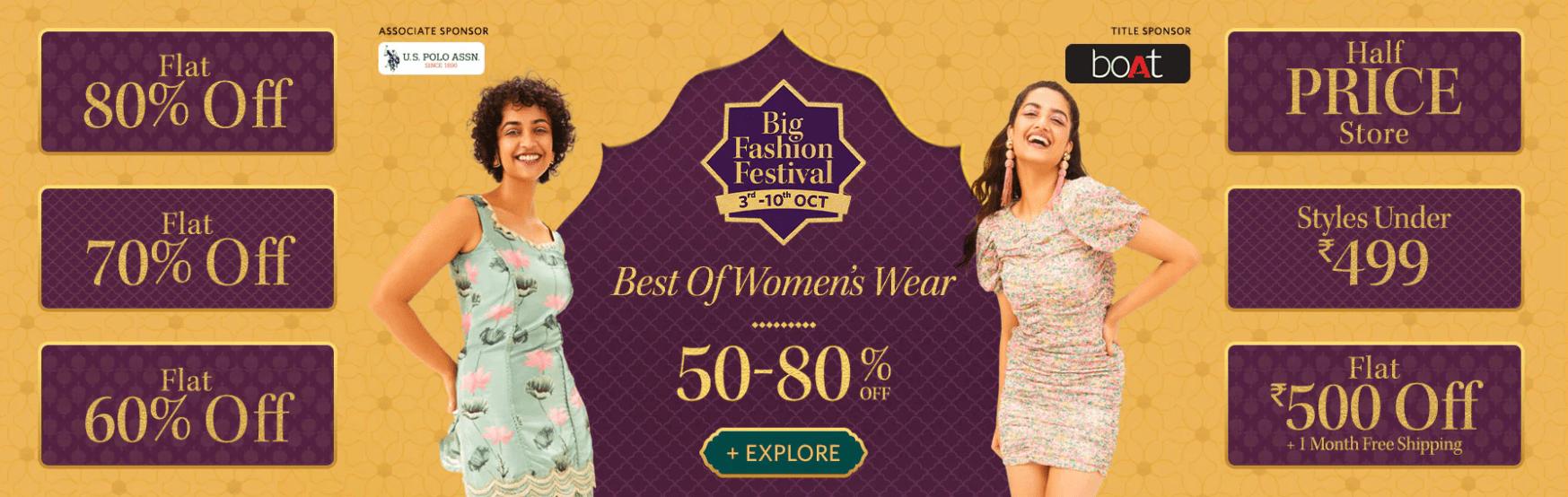 Myntra Big Fashion Festival Sale Offers on Womens Clothing
